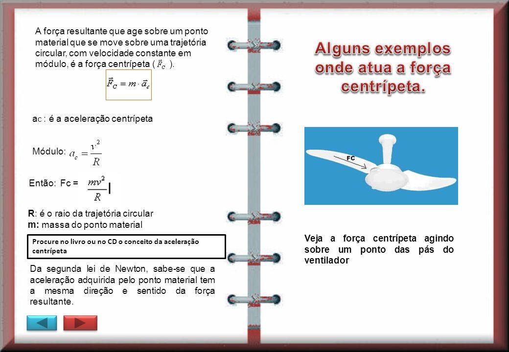 Alguns exemplos onde atua a força centrípeta.