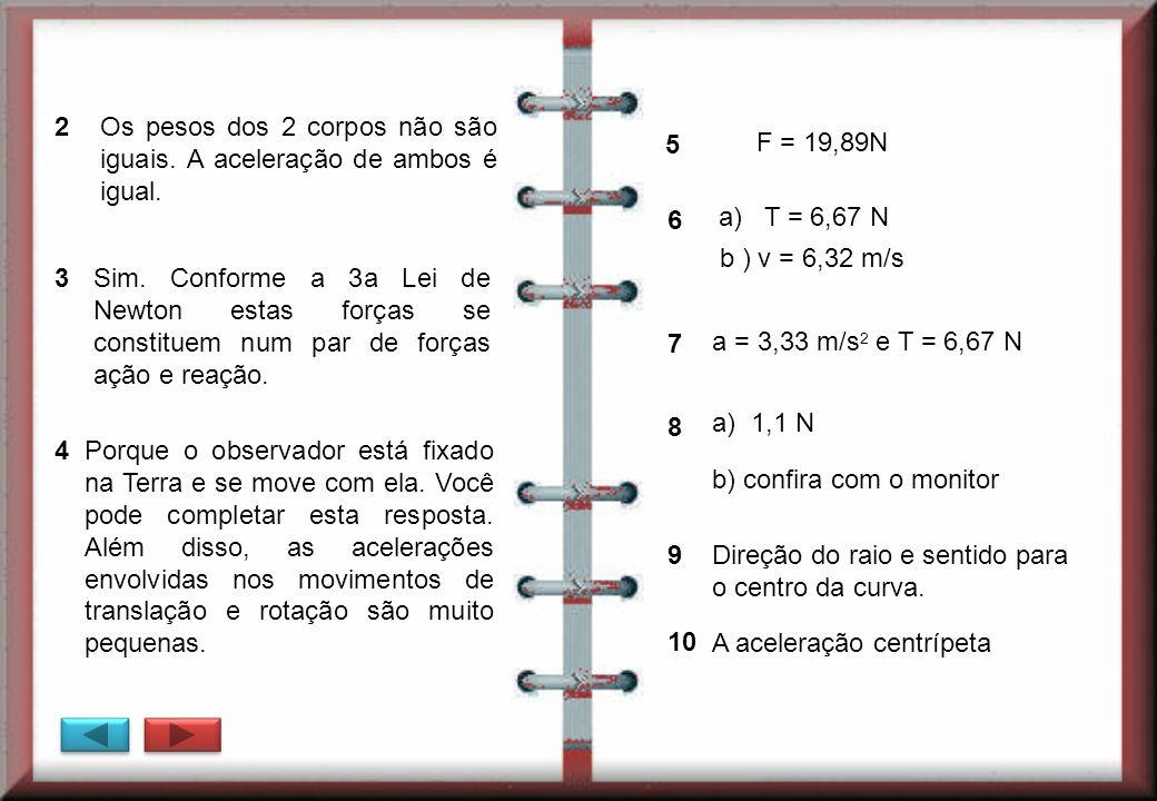 Os pesos dos 2 corpos não são iguais. A aceleração de ambos é igual. 5