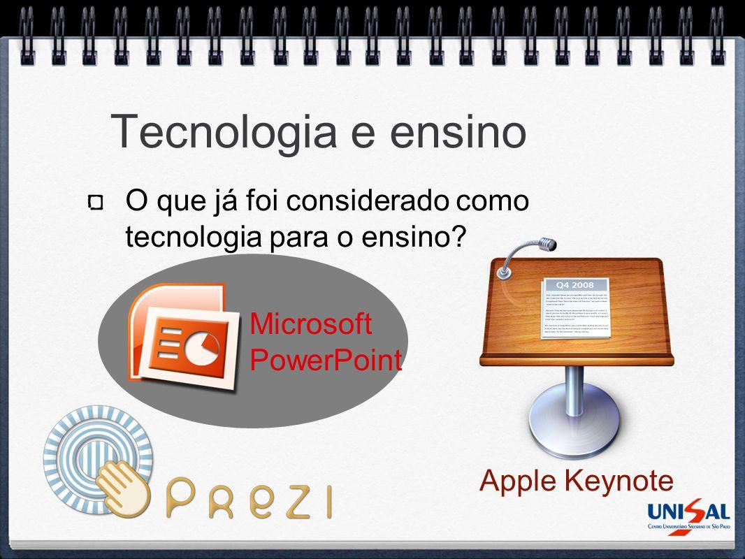 Tecnologia e ensino O que já foi considerado como tecnologia para o ensino Microsoft PowerPoint.