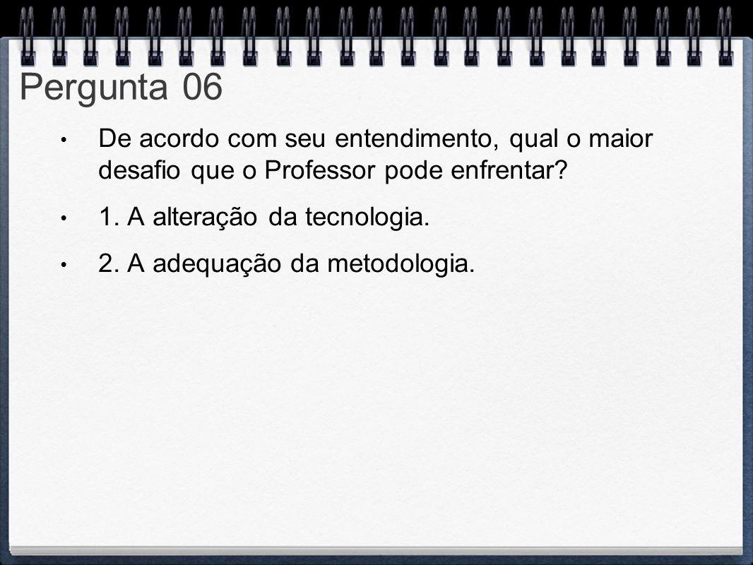 Pergunta 06 De acordo com seu entendimento, qual o maior desafio que o Professor pode enfrentar 1. A alteração da tecnologia.