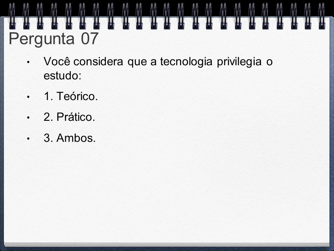 Pergunta 07 Você considera que a tecnologia privilegia o estudo: