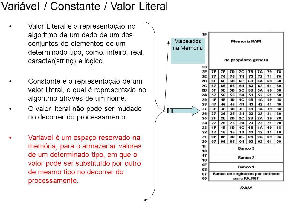 Variável / Constante / Valor Literal