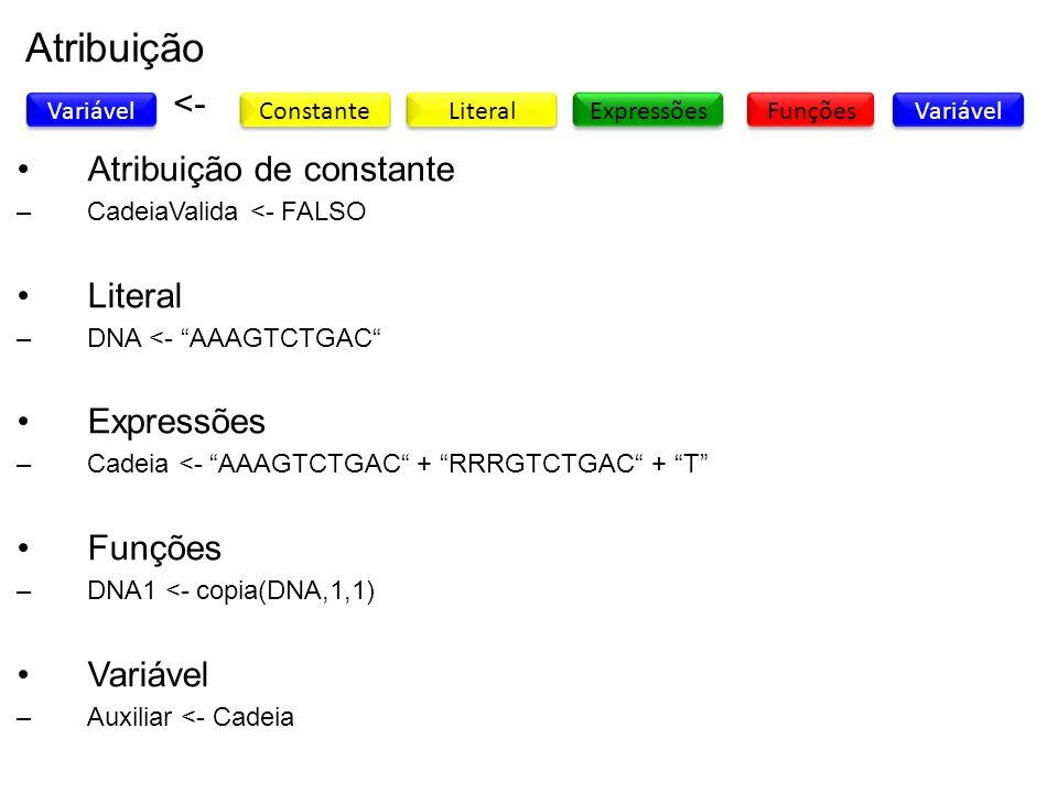 Atribuição <- Atribuição de constante Literal Expressões Funções