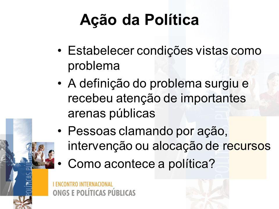Ação da Política Estabelecer condições vistas como problema