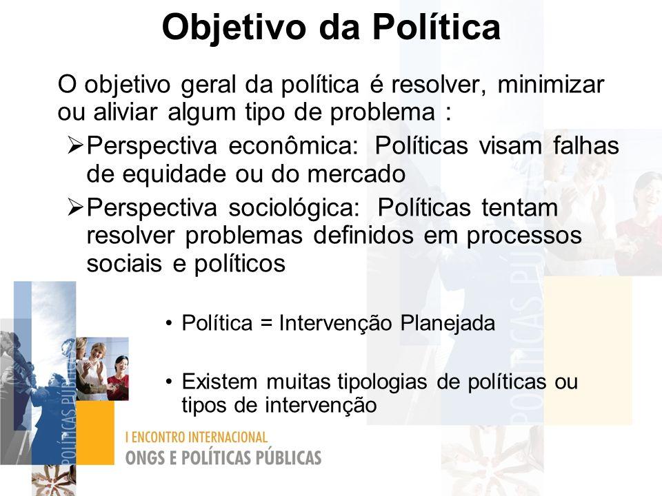 Objetivo da Política O objetivo geral da política é resolver, minimizar ou aliviar algum tipo de problema :