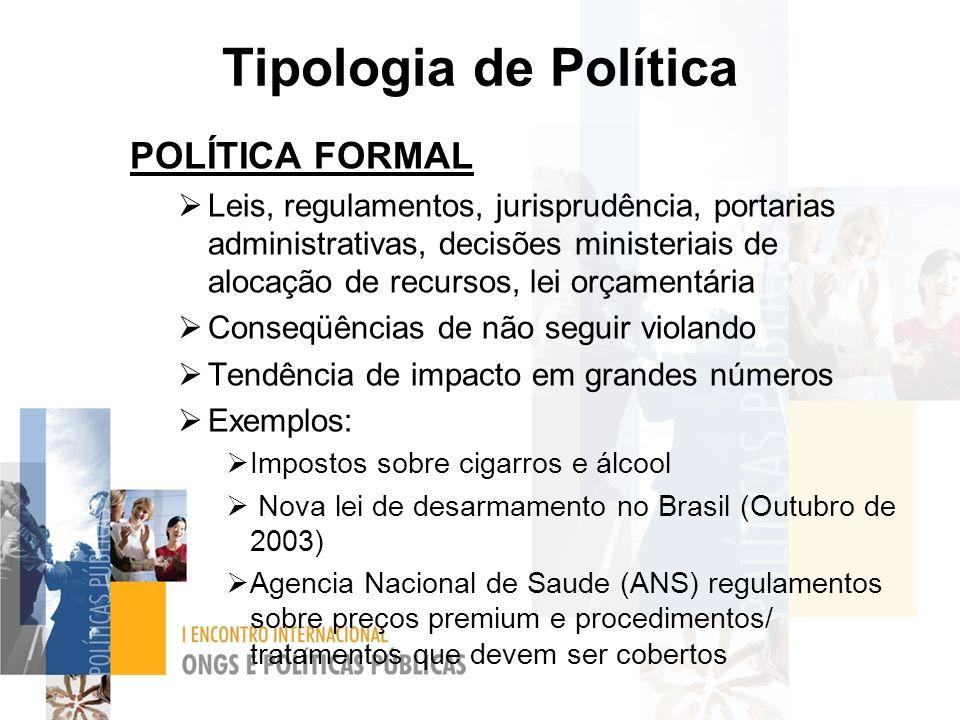 Tipologia de Política POLÍTICA FORMAL