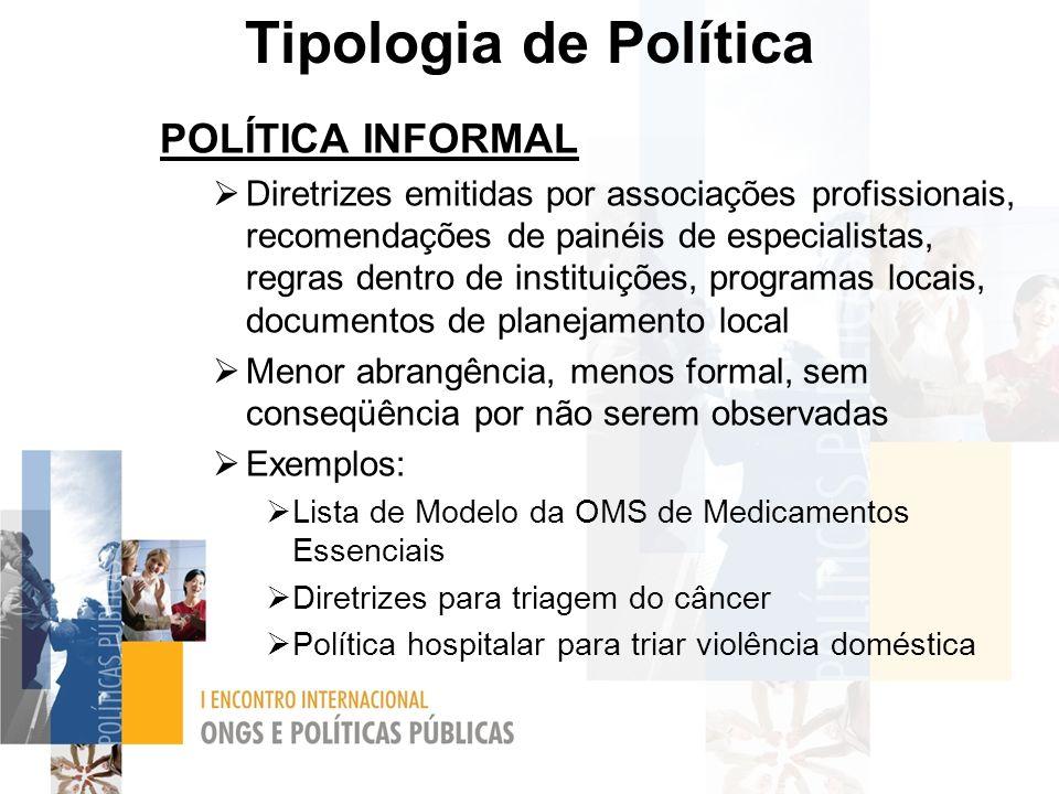 Tipologia de Política POLÍTICA INFORMAL