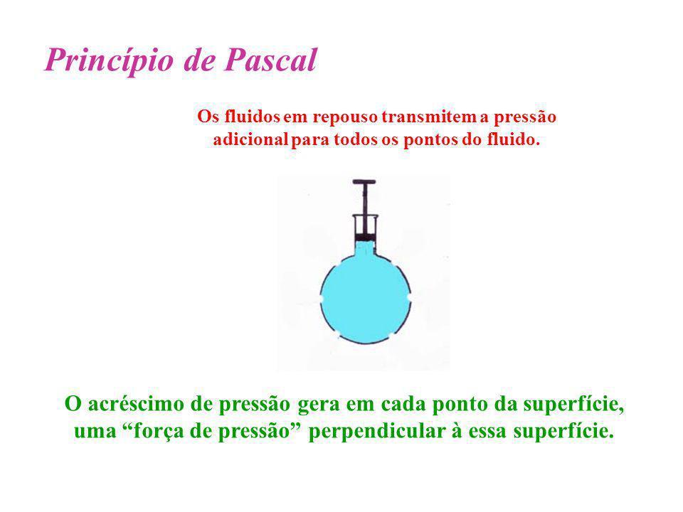 Princípio de Pascal Os fluidos em repouso transmitem a pressão adicional para todos os pontos do fluido.