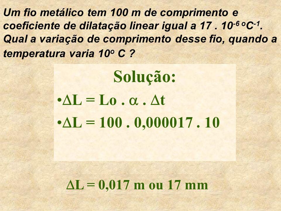 Um fio metálico tem 100 m de comprimento e coeficiente de dilatação linear igual a 17 . 10-6 oC-1. Qual a variação de comprimento desse fio, quando a temperatura varia 10o C