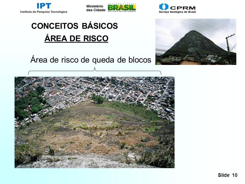 CONCEITOS BÁSICOS ÁREA DE RISCO Área de risco de queda de blocos