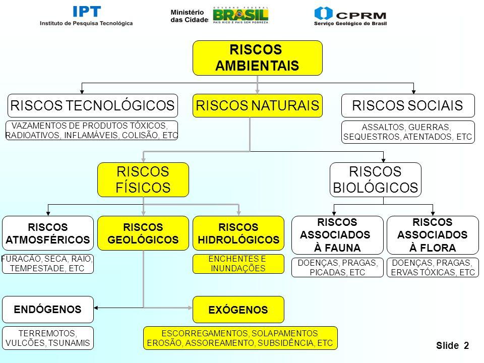 RISCOS AMBIENTAIS RISCOS TECNOLÓGICOS RISCOS NATURAIS RISCOS SOCIAIS