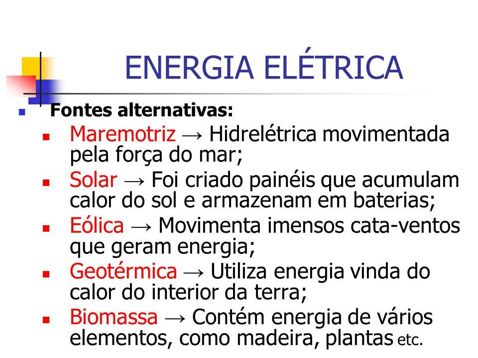 ENERGIA ELÉTRICA Fontes alternativas: Maremotriz → Hidrelétrica movimentada pela força do mar;