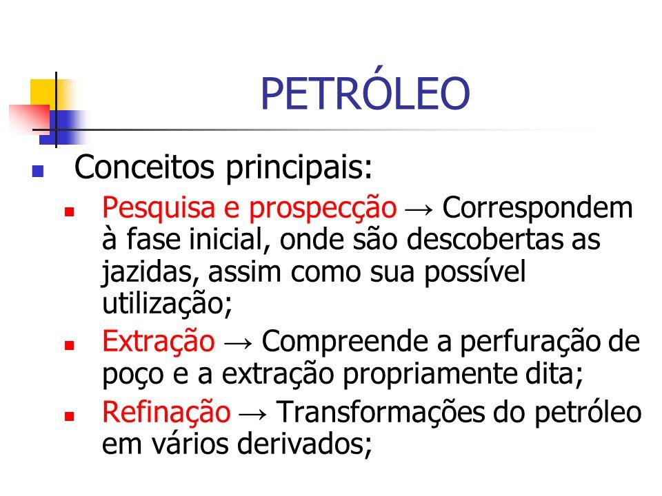 PETRÓLEO Conceitos principais: