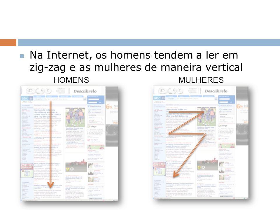 Na Internet, os homens tendem a ler em zig-zag e as mulheres de maneira vertical