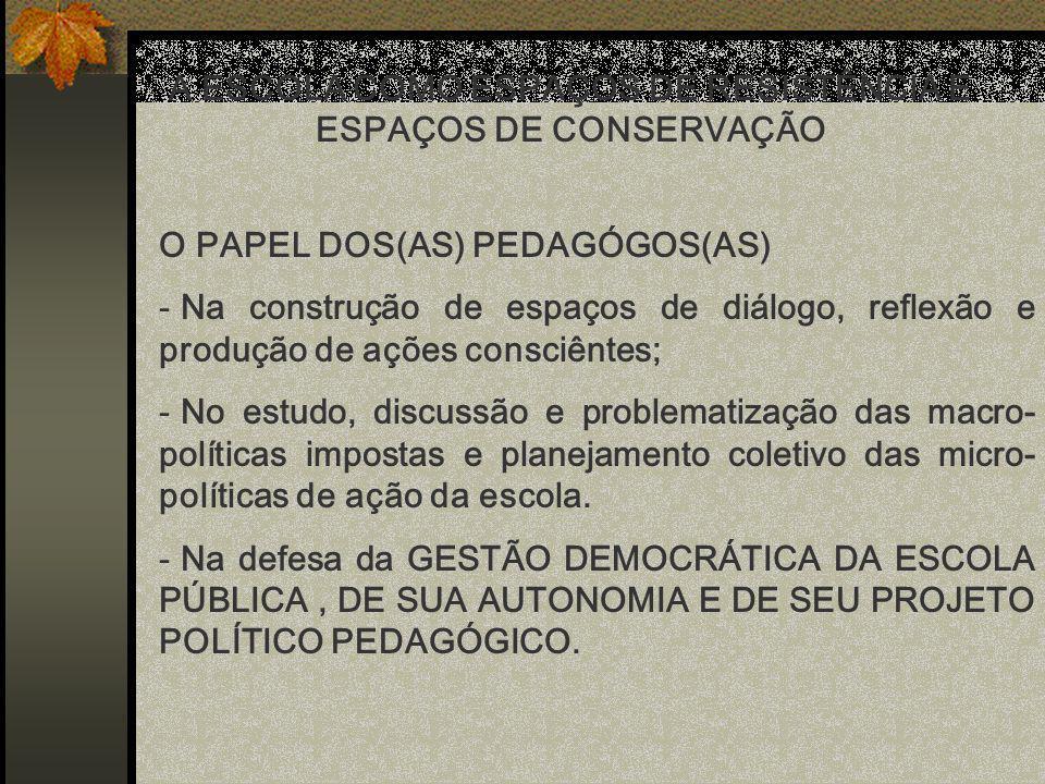 A ESCOLA COMO ESPAÇOS DE RESISTÊNCIA E ESPAÇOS DE CONSERVAÇÃO
