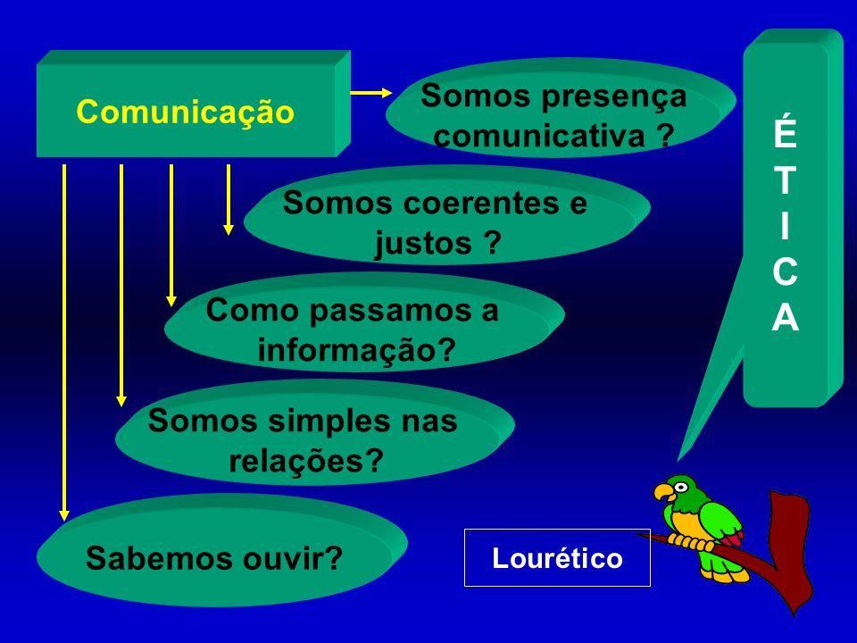 É T I C A Somos presença Comunicação comunicativa Somos coerentes e