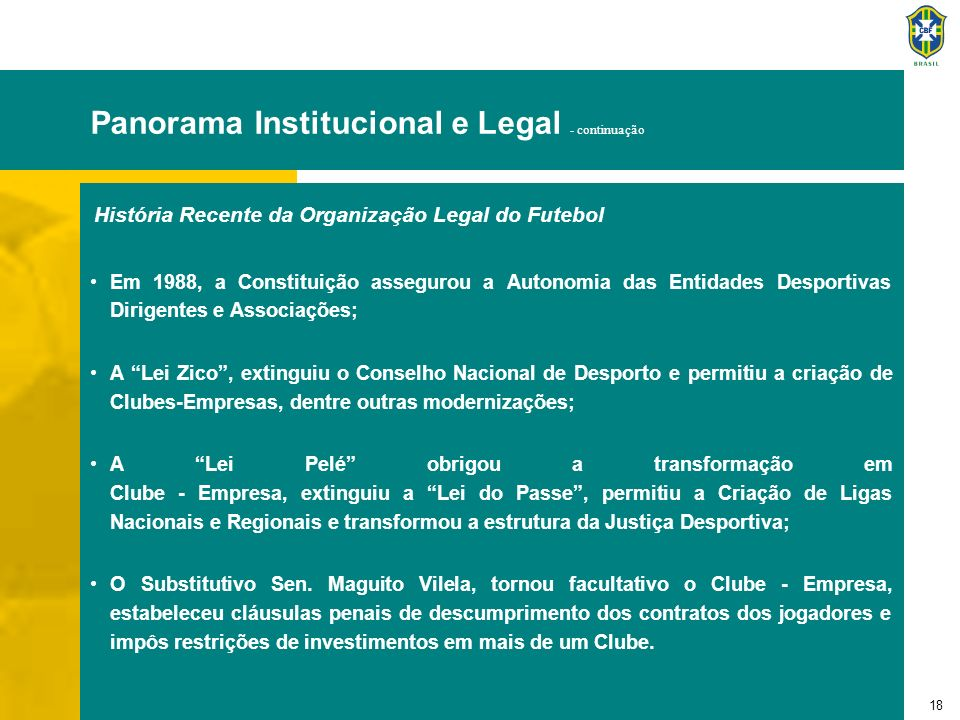 Panorama Institucional e Legal - continuação