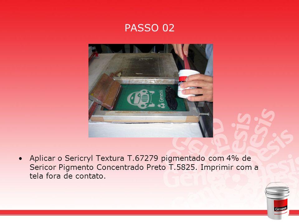 PASSO 02Aplicar o Sericryl Textura T.67279 pigmentado com 4% de Sericor Pigmento Concentrado Preto T.5825.