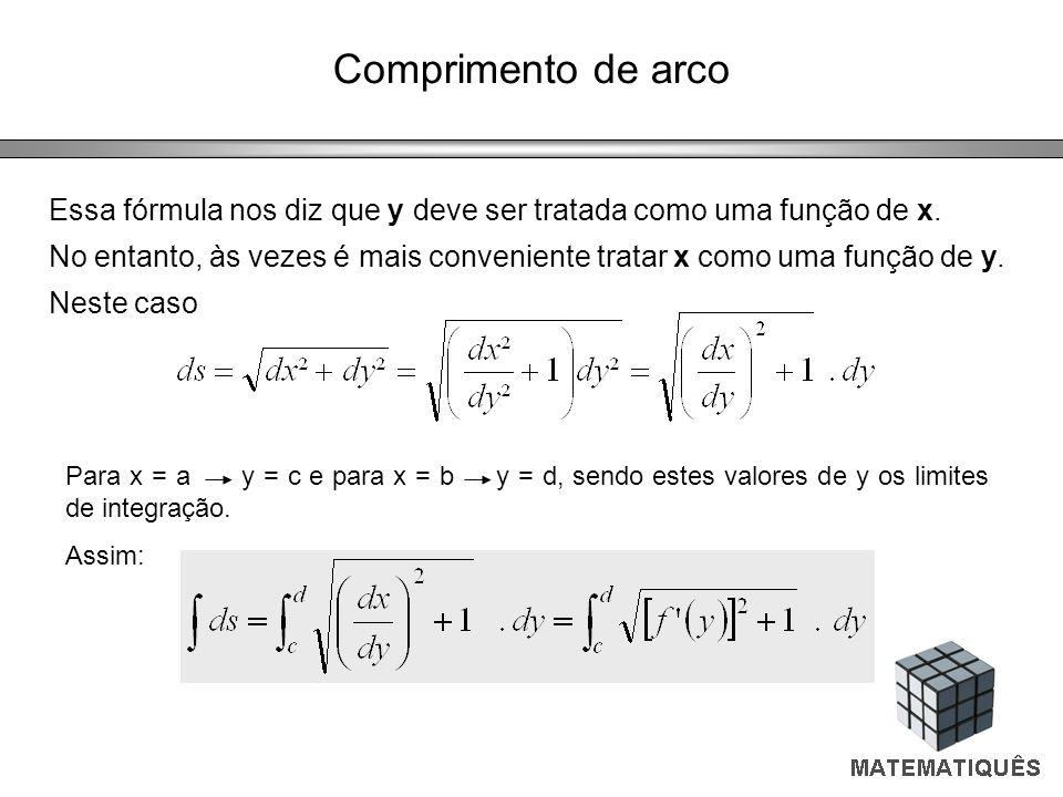 Comprimento de arco Essa fórmula nos diz que y deve ser tratada como uma função de x.