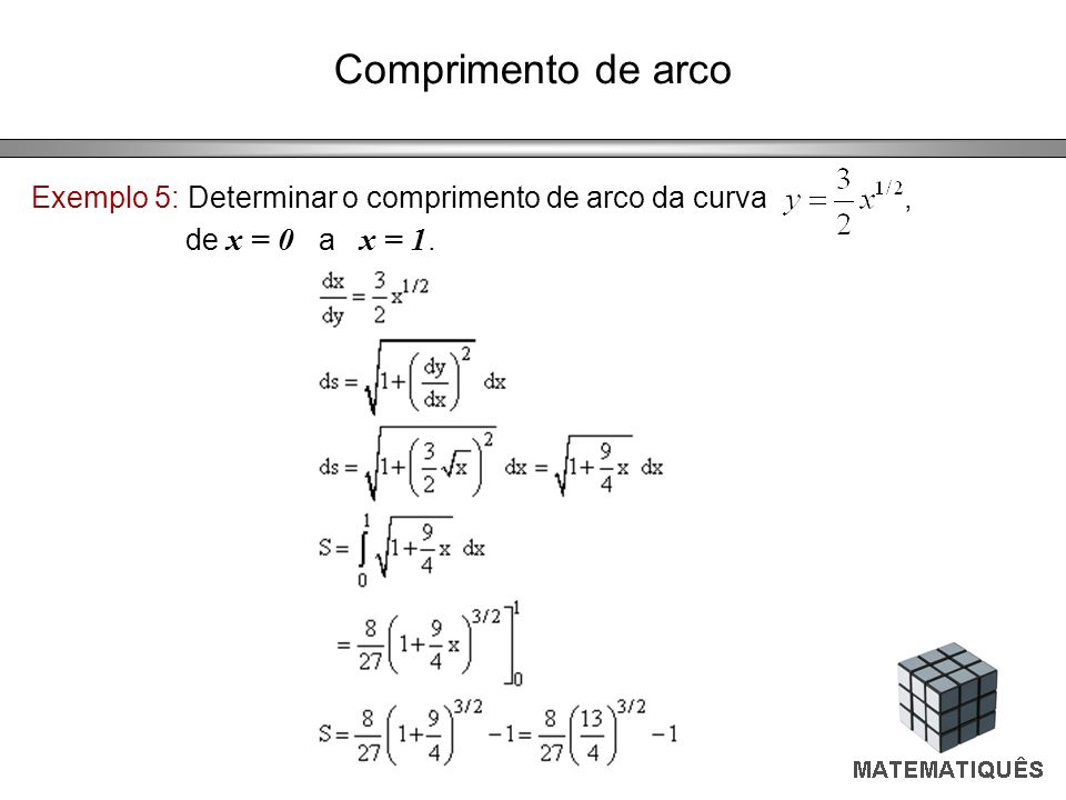 Comprimento de arco Exemplo 5: Determinar o comprimento de arco da curva , de x = 0 a x = 1.