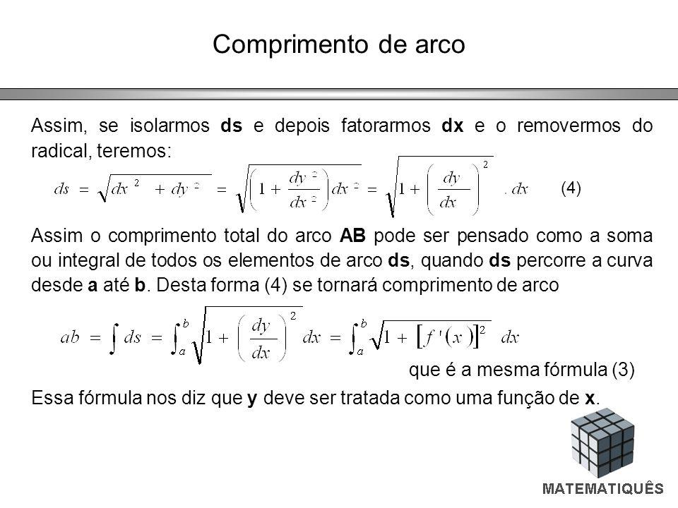 Comprimento de arco Assim, se isolarmos ds e depois fatorarmos dx e o removermos do radical, teremos: