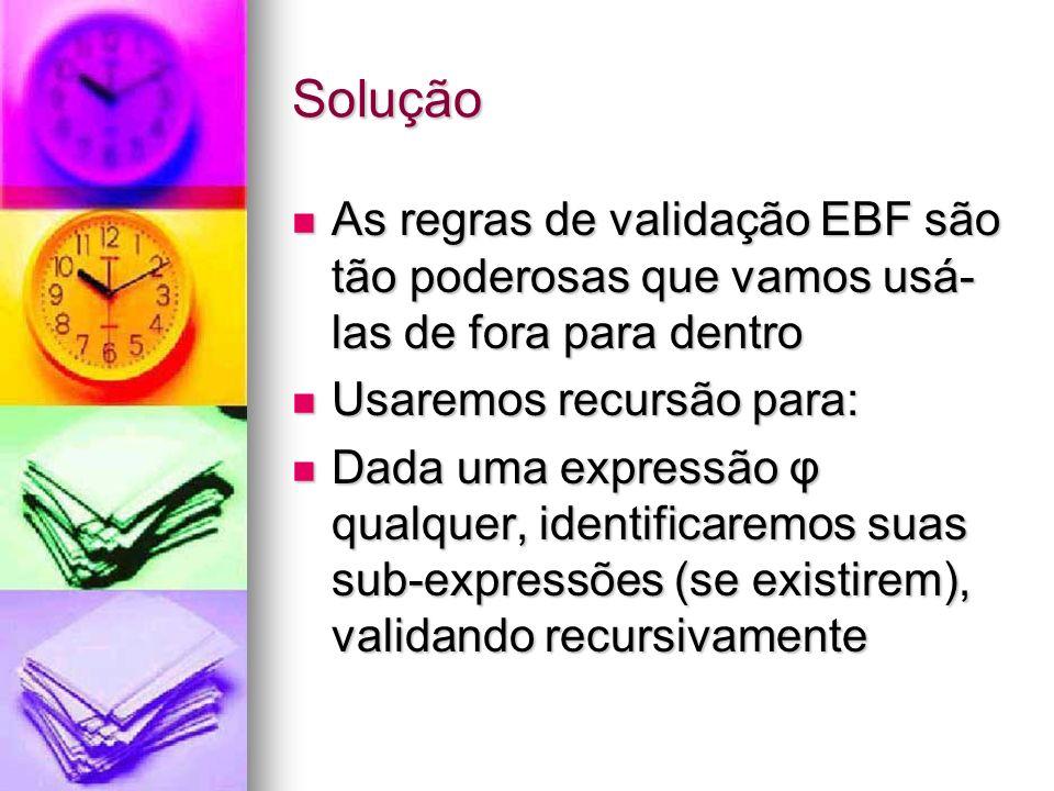 Solução As regras de validação EBF são tão poderosas que vamos usá-las de fora para dentro. Usaremos recursão para: