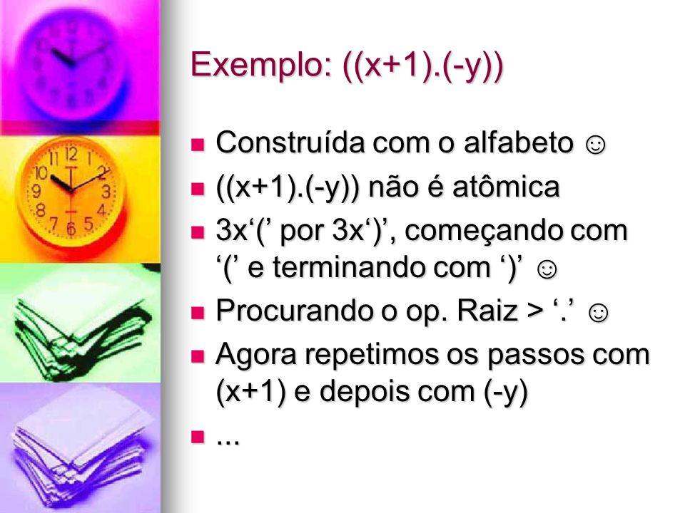 Exemplo: ((x+1).(-y)) Construída com o alfabeto ☺