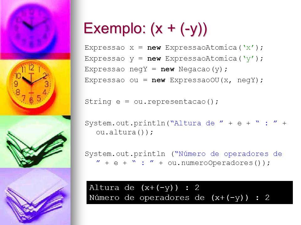Exemplo: (x + (-y)) Altura de (x+(-y)) : 2