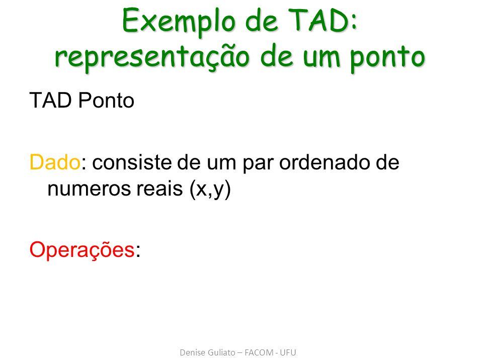 Exemplo de TAD: representação de um ponto