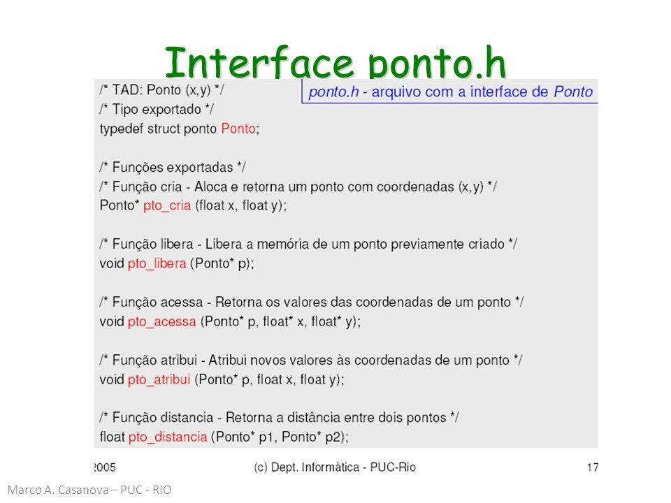 Interface ponto.h Marco A. Casanova – PUC - RIO