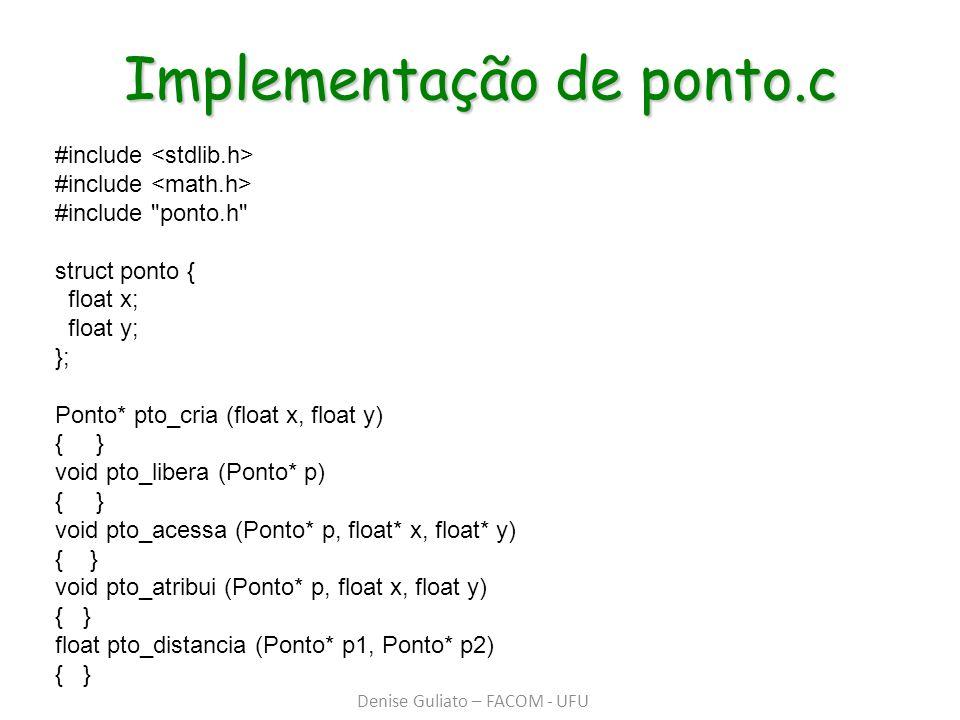 Implementação de ponto.c