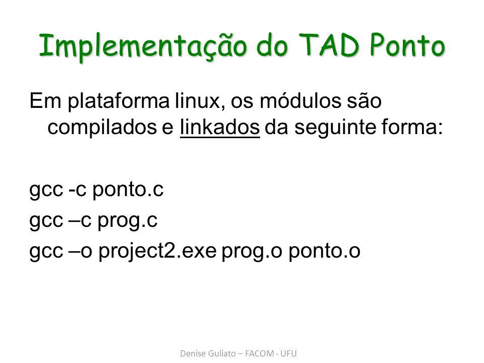 Implementação do TAD Ponto