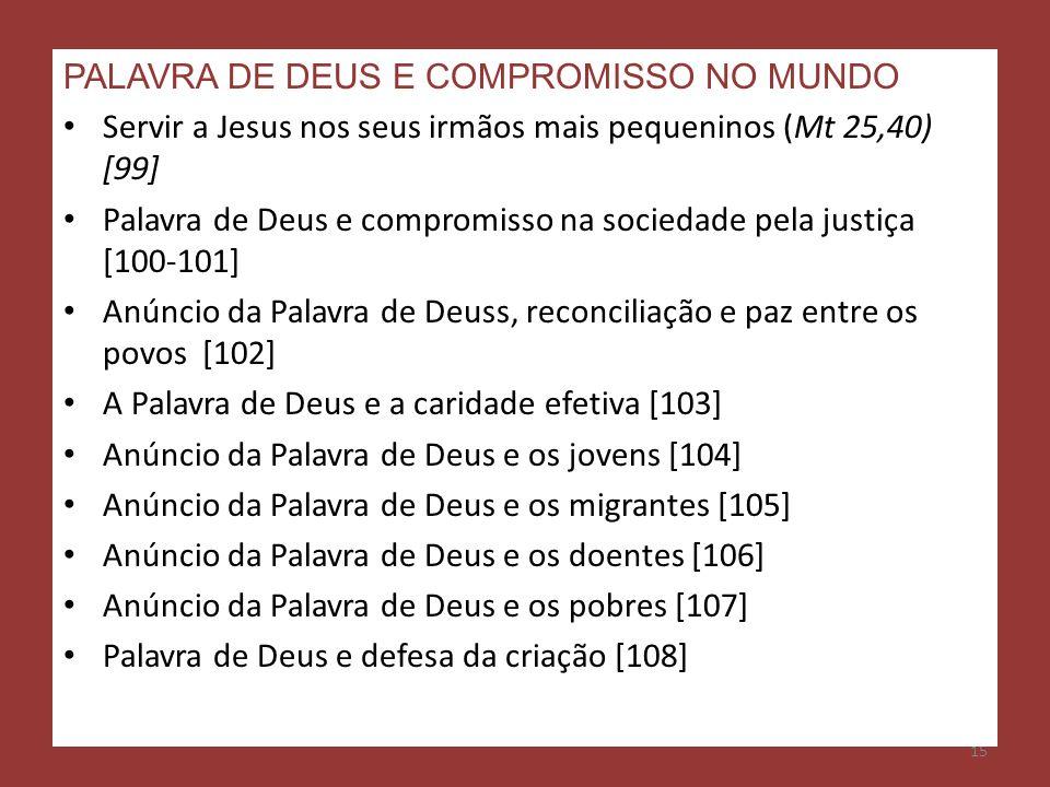 PALAVRA DE DEUS E COMPROMISSO NO MUNDO