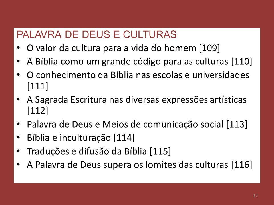 PALAVRA DE DEUS E CULTURAS