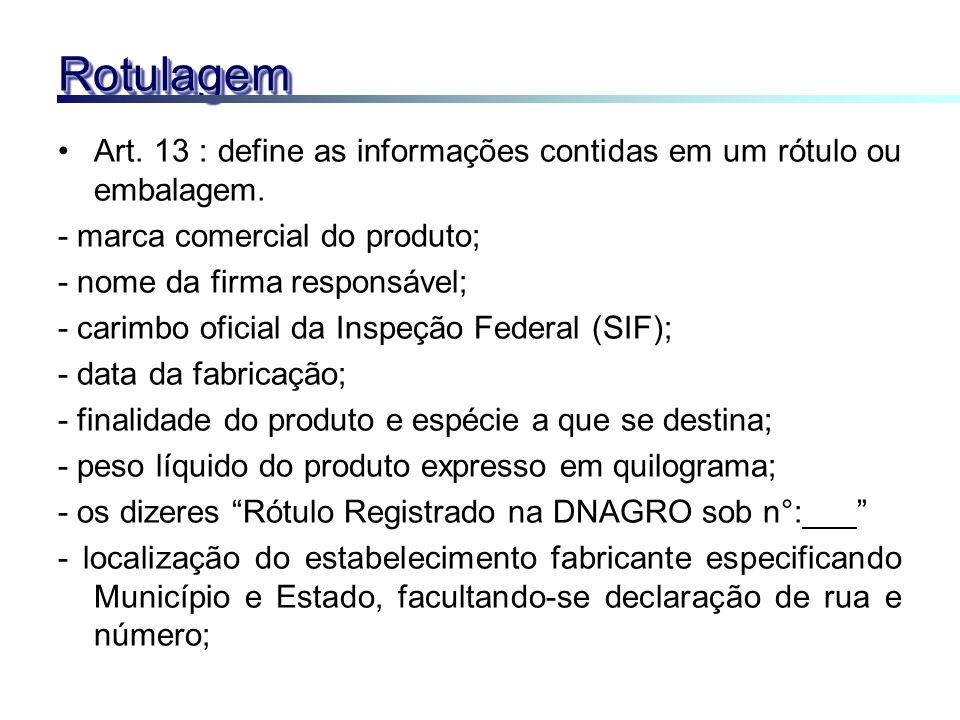 Rotulagem Art. 13 : define as informações contidas em um rótulo ou embalagem. - marca comercial do produto;