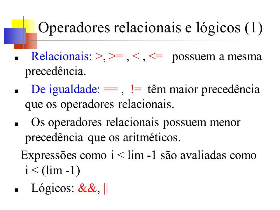 Operadores relacionais e lógicos (1)