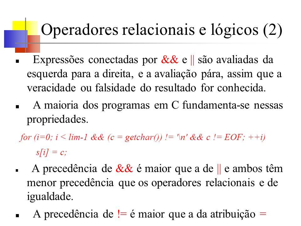 Operadores relacionais e lógicos (2)