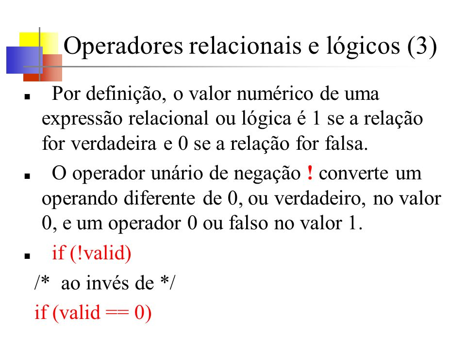 Operadores relacionais e lógicos (3)