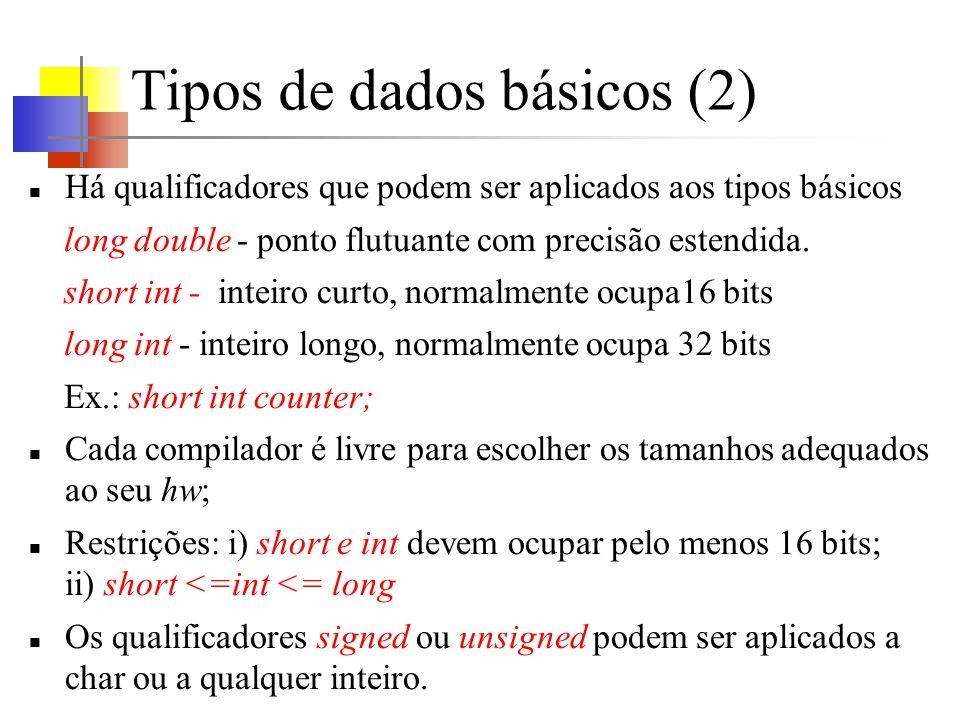Tipos de dados básicos (2)