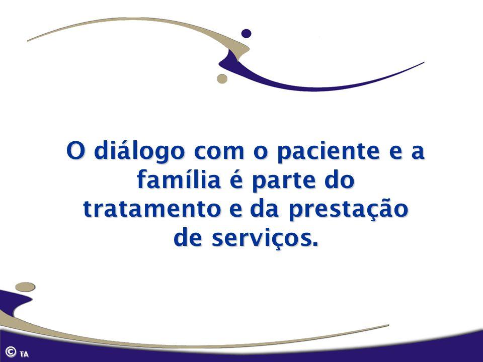 O diálogo com o paciente e a família é parte do tratamento e da prestação de serviços.