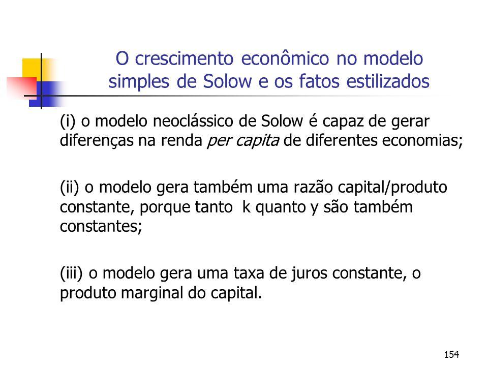 O crescimento econômico no modelo simples de Solow e os fatos estilizados