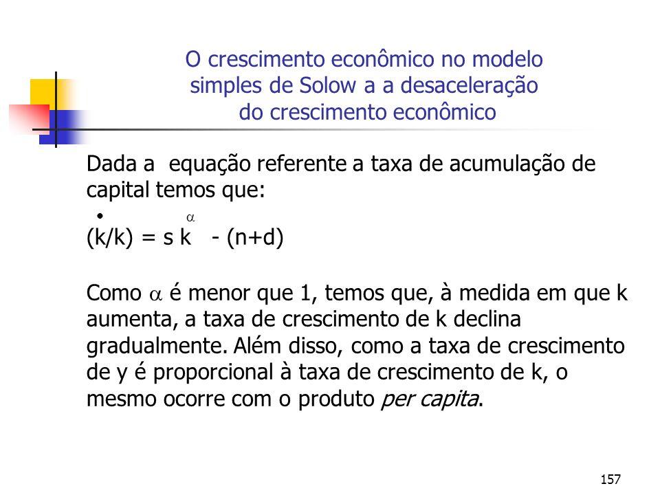 O crescimento econômico no modelo simples de Solow a a desaceleração do crescimento econômico