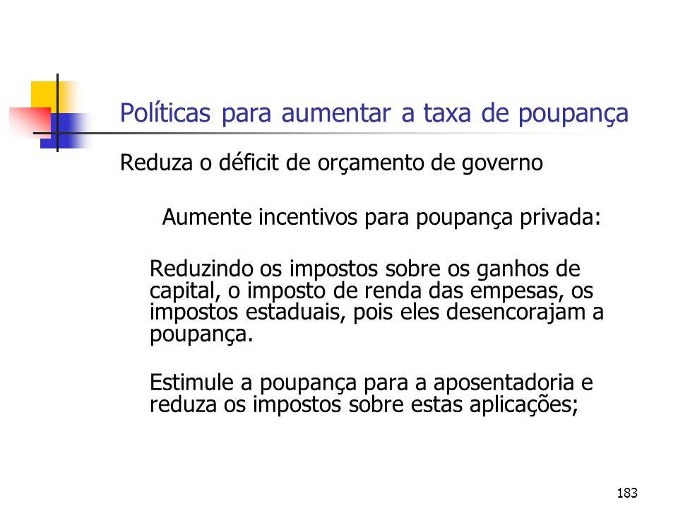 Políticas para aumentar a taxa de poupança