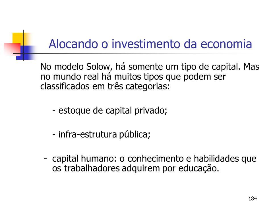 Alocando o investimento da economia