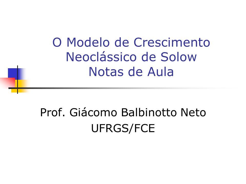 O Modelo de Crescimento Neoclássico de Solow Notas de Aula