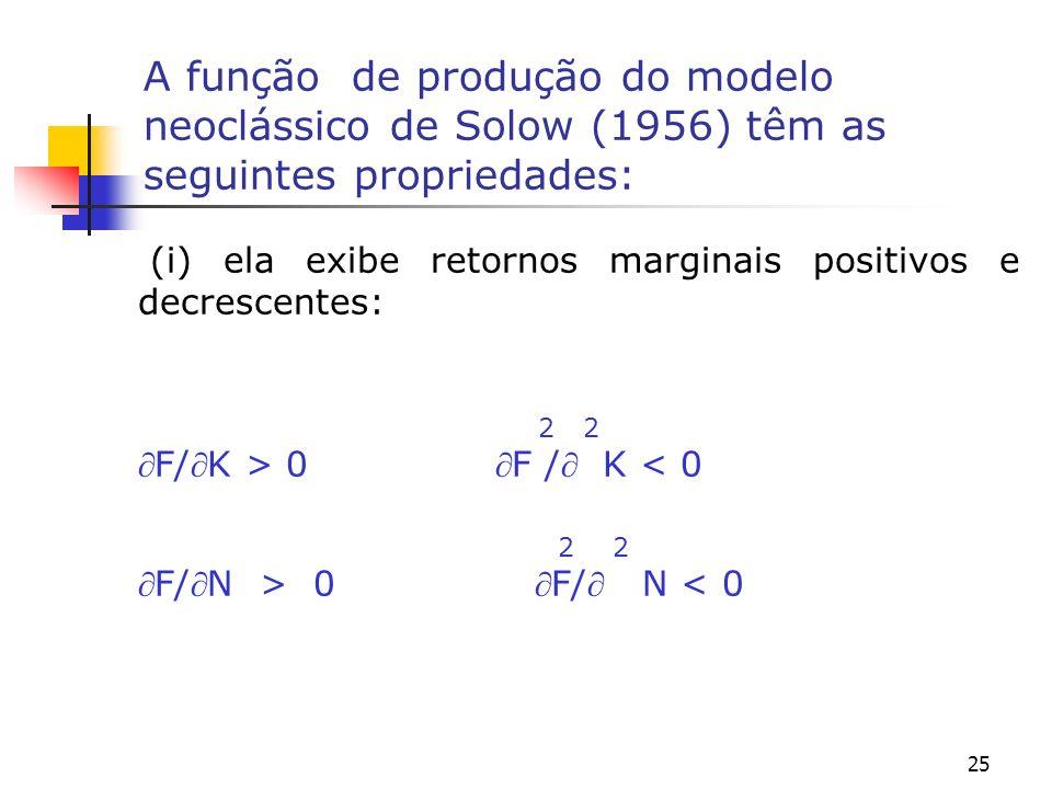 A função de produção do modelo neoclássico de Solow (1956) têm as seguintes propriedades: