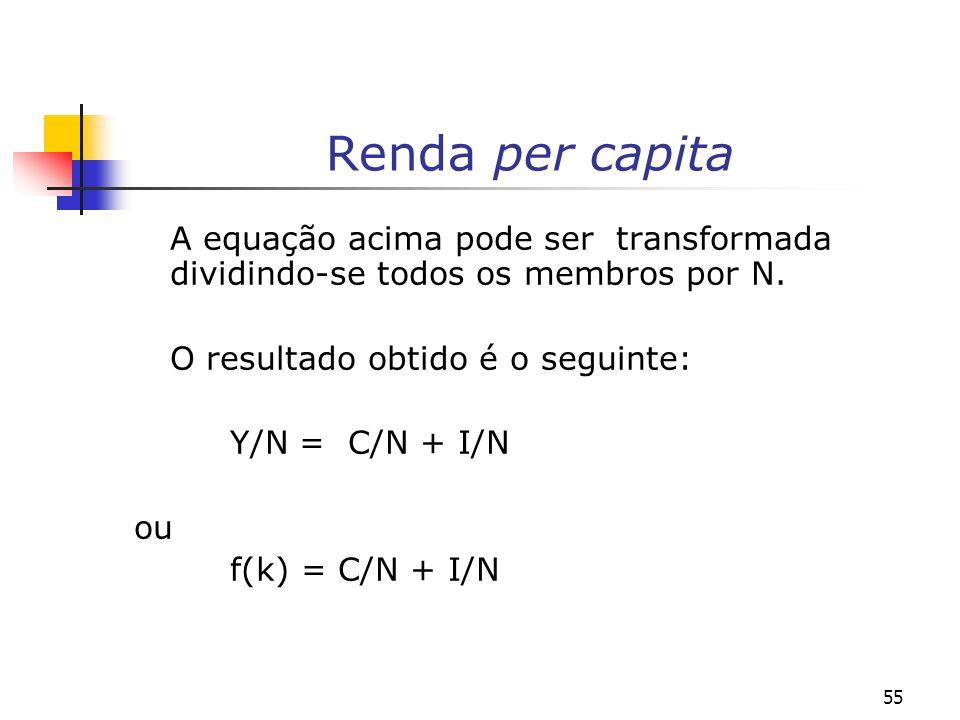 Renda per capita A equação acima pode ser transformada dividindo-se todos os membros por N. O resultado obtido é o seguinte: