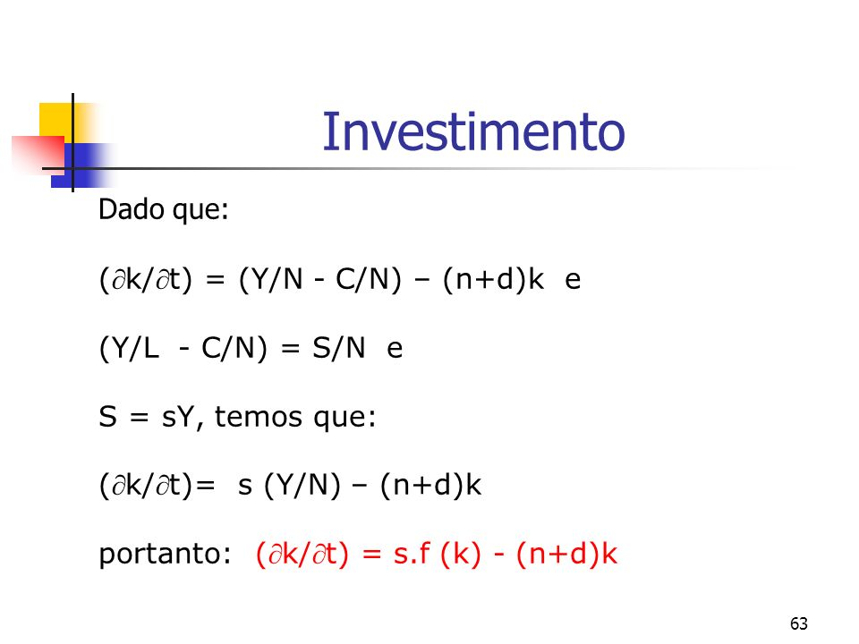 Investimento Dado que: (k/t) = (Y/N - C/N) – (n+d)k e