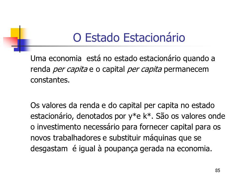 O Estado Estacionário Uma economia está no estado estacionário quando a renda per capita e o capital per capita permanecem constantes.