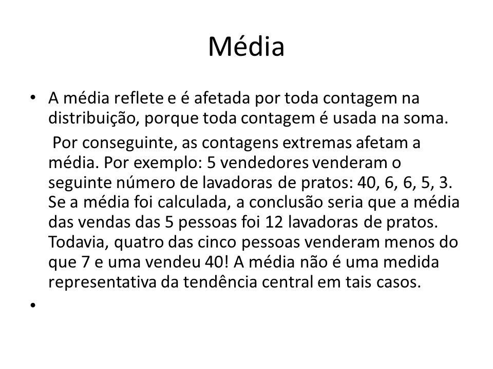 MédiaA média reflete e é afetada por toda contagem na distribuição, porque toda contagem é usada na soma.